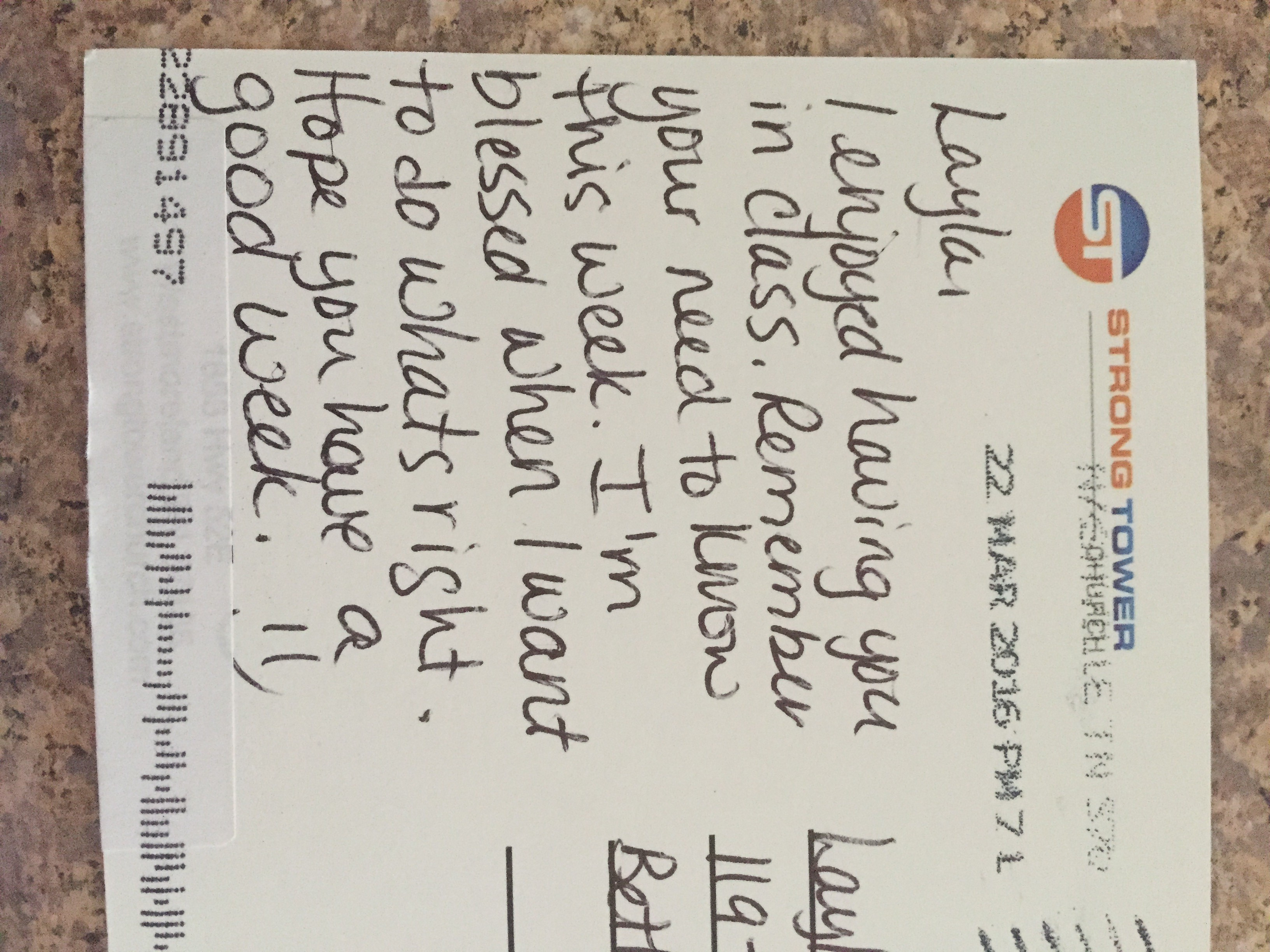 send a postcard travis stephens it was written by her small group leader and it referenced her need to know for that week not only does this show we care it also shows parents what